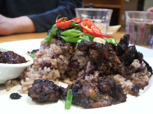 Jerk chicken and rice and peas